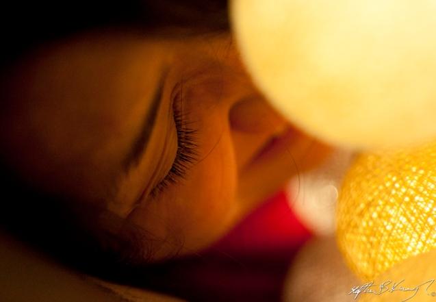 Melissa Chu with lights in Church Gardens, Rathmines, Dublin. 12th December 2012