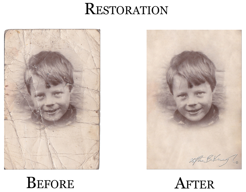 Adobe Photoshop CS6, Clone, Heal, Layers and a collection of other tools and techniques were employed in the restoration of this damaged picture. August 2013