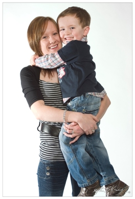 Clair Dillon and her son pose for a college magazine article about going back to college after having a child. St.Kevin's College, Dublin.