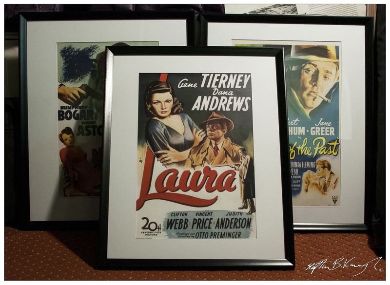 Movie Posters of the films The Maltese Falcon, Laura and Out of the Past framed. The posters are put in as a back layer behind a dahler board that has been cut exactly to shape. Leinster Road, Rathmines, Dublin. 20th November 2013