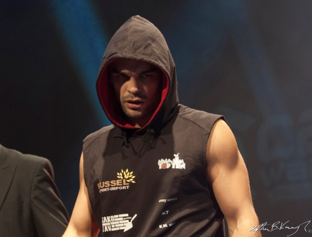 Ivan Buchinger before their fight for the CWFC lightweight title. Cagewarriors 63, The Helix, DCU. 31st December 2013