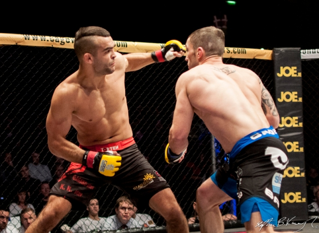 Stevie Ray, right, fighting Ivan Buchinger for the CWFC lightweight title. Cagewarriors 63, The Helix, DCU. 31st December 2013
