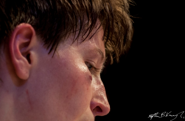 Aisling Daly between rounds during her fight against Karla Benitez. Cagewarriors 63, The Helix, DCU. 31st December 2013