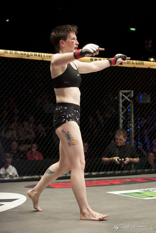 Aisling Daly celebrates after fighting Karla Benitez. Cagewarriors 63, The Helix, DCU. 31st December 2013