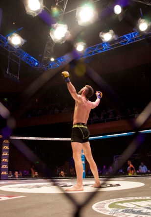 John Redmond celebrates winning his fight against Kieran Davern. Cagewarriors 63, The Helix, DCU. 31st December 2013
