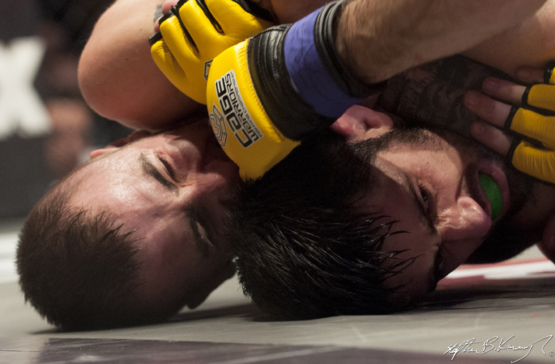 Kieran O'Brien, left, fighting Mick Brennan. Cagewarriors 63, The Helix, DCU. 31st December 2013