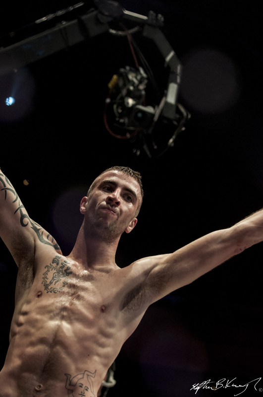 Kieran O'Brien celebrated after winning his fight with Mick Brennan. Cagewarriors 63, The Helix, DCU. 31st December 2013