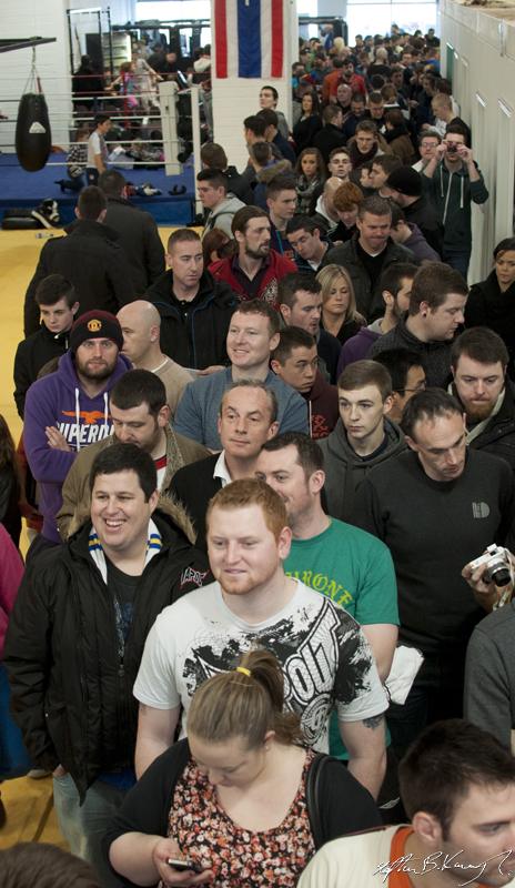 The queue to meet Conor McGregor, Cathal Pendred and Gunnar Nelson at the opening of the new Straight Blast Gym branch on the Naas Road, Dublin. 11th January 2014