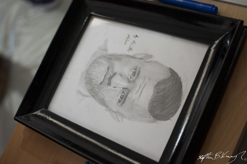 A portrait of Conor McGregor given to him by a fan at the opening of the new Straight Blast Gym branch on the Naas Road, Dublin. 11th January 2014