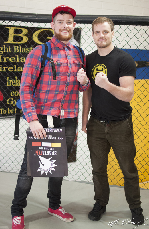 Gunnar Nelson, right, with a fan at the opening of the new Straight Blast Gym branch on the Naas Road, Dublin. 11th January 2014