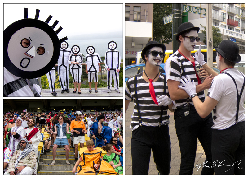 Fancy Dress as Stick-Men, top left, for the Sevens Rugby event in Wellington, New Zealand. Many people come dressed up in teams to this event. A group of Mimes, right, and the whole crowd, bottom left. This compilation was made using Adobe Indesign CS6. 5th February 2011