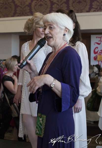 Joan Murray speaking at the vintage fashion and decor fair in the Royal Marine Hotel, Marine Road, Dun Laoghaire, Dublin, Ireland. 6th April 2014