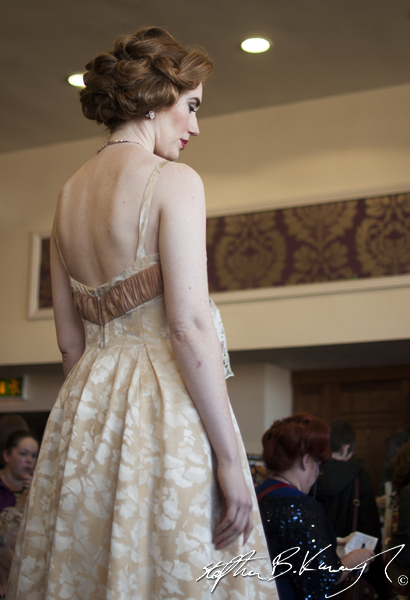 Wedding dress from The 3rd Policeman at the vintage fashion and decor fair in the Royal Marine Hotel, Marine Road, Dun Laoghaire, Dublin, Ireland. 6th April 2014