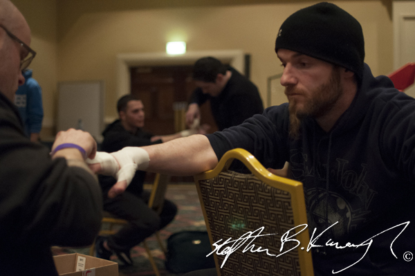 Colm O'Flaherty has hand wraps applied before competing in Man of War 6 Mixed Martial Arts competition in the The Citywest Hotel, Saggart Dublin, Co. Dublin. 5th April 2013