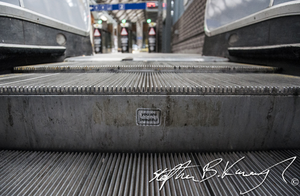 "Sticker on an esculator in Pearse Street train station reads ""You are beautiful"". Dublin, Ireland, 6th April 2014"