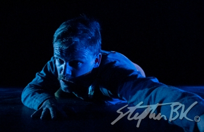 Jamie O'Neill in Walking the Road in the Cavan Theatre Festival. Written by Dermot Bolger, directed by Aaron Monaghan and produced by Siobhan Cassidy. The Town Hall, Cavan, Co. Cavan, Ireland. 20th July 2014