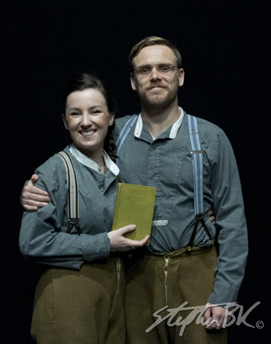 Jamie O'Neill and Clare Monnelly in Walking the Road in the Cavan Theatre Festival. Written by Dermot Bolger, directed by Aaron Monaghan and produced by Siobhan Cassidy. The Town Hall, Cavan, Co. Cavan, Ireland. 20th July 2014
