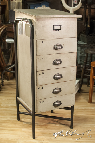 Set of drawers in The 3rd Policeman - vintage and antique shop. Rathmines, Dublin, Ireland. 15th July 2014