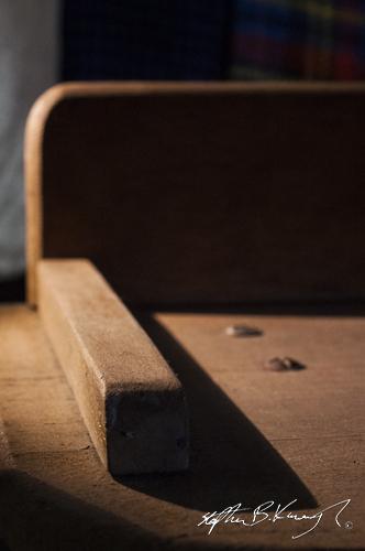 An antique school desk. The 3rd Policeman, Rathmines, Dublin, Ireland. 19th August 2014