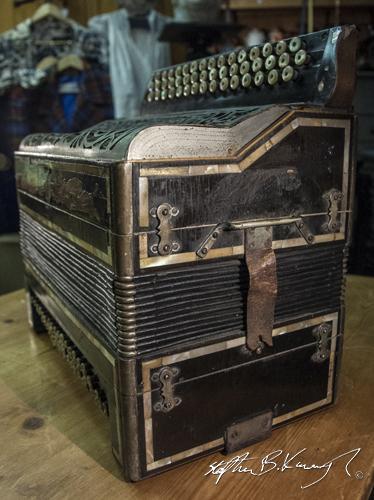An accordion. The 3rd Policeman, Rathmines, Dublin, Ireland. 19th August 2014