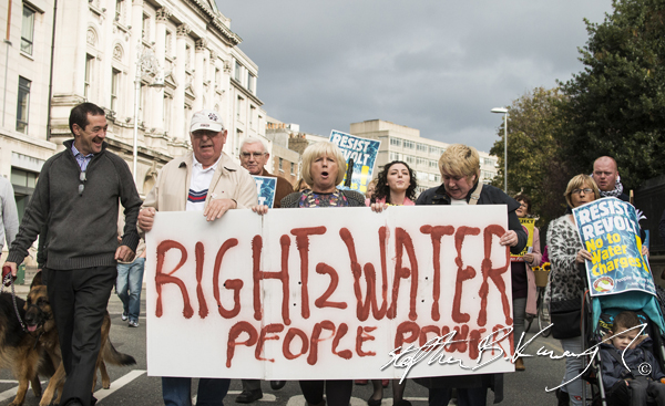 Protestors march against the incoming water charges in the Republic of Ireland. College Green, Dublin. 1st November 2014
