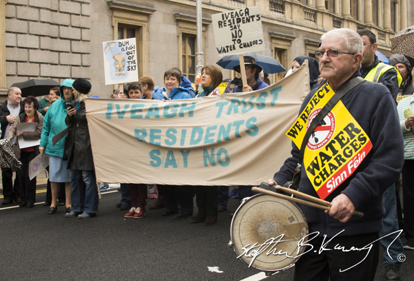 Iveagh Trust residents march against the incoming water charges in the Republic of Ireland. Kildare Street, Dublin. 1st November 2014