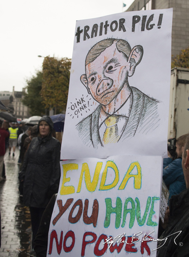 A protestor holds up a sign during the march against the incoming water charges in the Republic of Ireland. O'Connell Street, Dublin. 1st November 2014