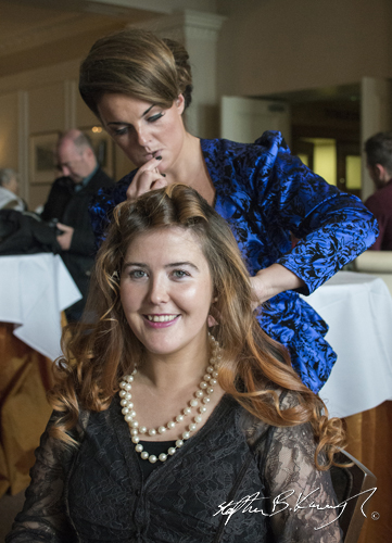 Stylist Collette Brocklebank at work. Vintage Fashion & Decor Fair, The Royal Marine Hotel, Dún Laoghaire, Dublin, Ireland. 9th November 2014