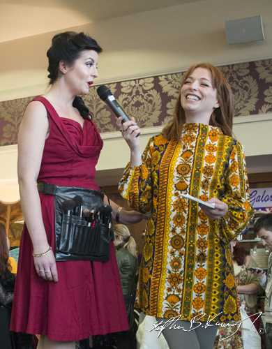 Irene O'Brian, right, speaks with Ruby Garnet. Vintage Fashion & Decor Fair, The Royal Marine Hotel, Dún Laoghaire, Dublin, Ireland. 9th November 2014