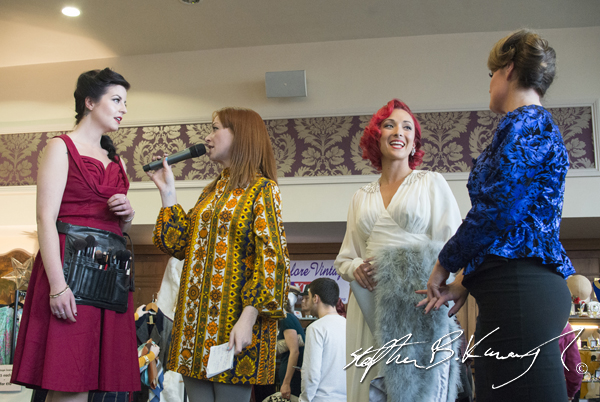 Irene O'Brian, second from left, speaks with Ruby Garnet, Sui C and Collette Brocklebank. Vintage Fashion & Decor Fair, The Royal Marine Hotel, Dún Laoghaire, Dublin, Ireland. 9th November 2014