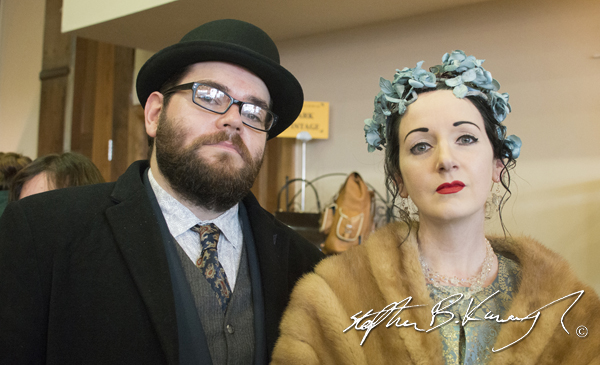 Kevin Weldon and Marie Ní Chathain. Vintage Fashion & Decor Fair, The Royal Marine Hotel, Dún Laoghaire, Dublin, Ireland. 9th November 2014