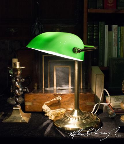 Lamp at James Howell Books stall. Vintage Fashion & Decor Fair, The Royal Marine Hotel, Dún Laoghaire, Dublin, Ireland. 9th November 2014