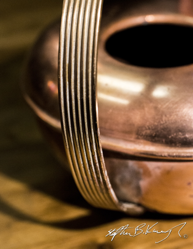 A copper watering can. The 3rd Policeman, Rathmines, Dublin, Ireland. 13th November 2014