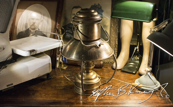 A lamp. The 3rd Policeman Vintage Shop, Rathmines, Dublin, Ireland. 13th February 2015. Picture Credit: Stephen B.K.