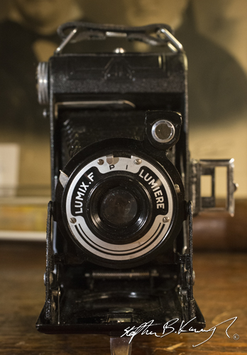 A Lumière Lumix-F camera from 1949 in perfect condition. The 3rd Policeman, Rathmines, Dublin, Ireland. 10th February 2015. Picture Credit: Stephen B.K.