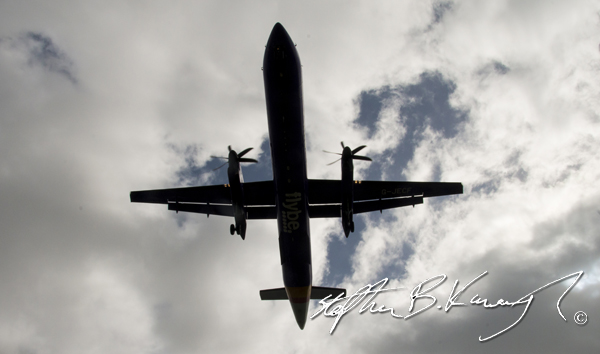 A Dash 8 coming in to land at Dublin International Airport. 3rd April 2015. Picture Credit: Stephen B.K.