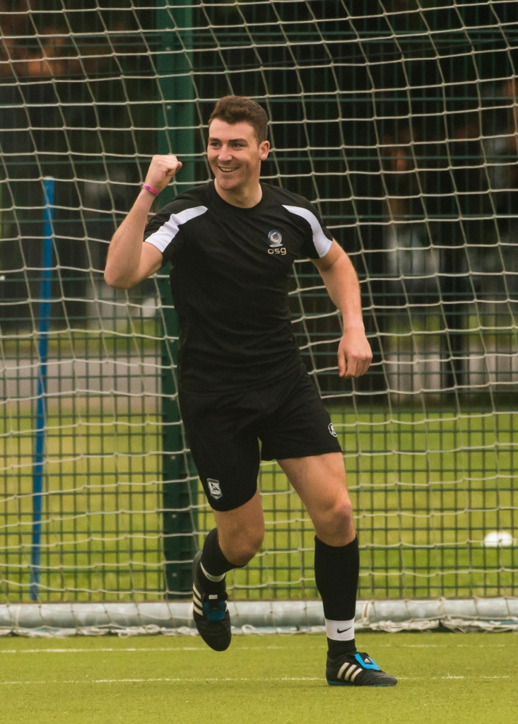 John Hetherington, OSG, celebrates scoring his side's first goal. DIAS 2015 Mes's 11 a Side Tournament Final. Irishtown Stadium, Ringsend, Dublin, Ireland. 19th June 2015. Picture Credit: Stephen B.K.