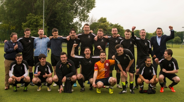 The OSG team celebrate after the game. DIAS 2015 Mes's 11 a Side Tournament Final. Irishtown Stadium, Ringsend, Dublin, Ireland. 19th June 2015. Picture Credit: Stephen B.K.