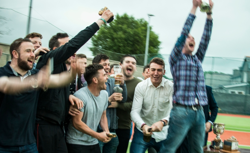 The OSG team celebrate at the cup presentation after the game. DIAS 2015 Mes's 11 a Side Tournament Final. Sportsco, Ringsend, Dublin, Ireland. 19th June 2015. Picture Credit: Stephen B.K.