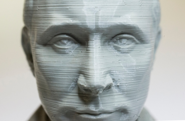 A miniature bust of Russian Premier Vladamir Putin made in digital format printed in resin using a 3D printer that makes the item in layers. 3D Printing Dublin, Rathmines, Dublin, Ireland. 2nd August 2015. Picture by Stephen B.K.