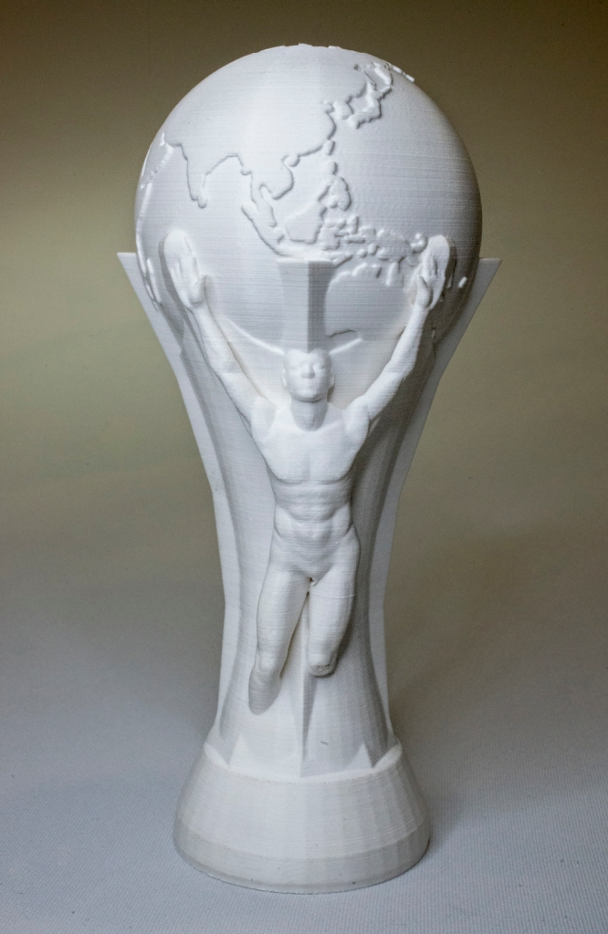 The world cup made in digital format are printed in resin using a 3D printer that makes the item in layers. 3D Printing Dublin, Rathmines, Dublin, Ireland. 2nd August 2015. Picture by Stephen B.K.