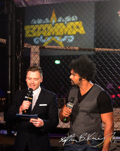 Former World Heavyweight Boxing Champion David Haye, right. BAMMA 22. 3 Arena, North Wall Quay, Dublin. Picture credit: Stephen B.K. / SPORTSFILE